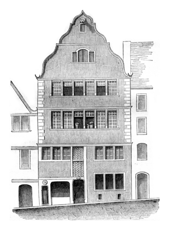 beethoven: House or is not Beethoven, Bonn, vintage engraved illustration. Magasin Pittoresque 1842. Stock Photo