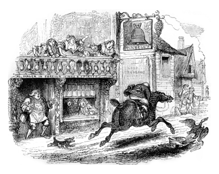 Arrested John Gilpin, vintage engraved illustration. Magasin Pittoresque 1842.
