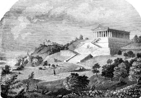 The Walhalla, vintage engraved illustration. Magasin Pittoresque 1844.