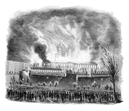 conflagration: Fire of the Tower of London, vintage engraved illustration. Magasin Pittoresque 1842. Stock Photo