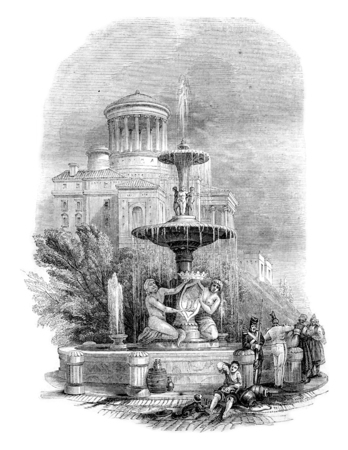 fountains: Fountain, the Prado, vintage engraved illustration. Magasin Pittoresque 1844.
