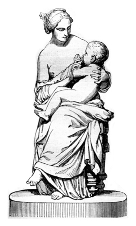 believing: 1842 Sculpture Show, Young Neapolitan woman believing her child, plaster group, vintage engraved illustration. Magasin Pittoresque 1842. Stock Photo