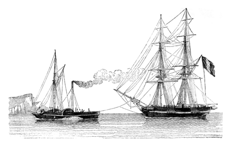 retailers: Tug Havre giving the trailer a merchant blog, vintage engraved illustration. Magasin Pittoresque 1842. Stock Photo