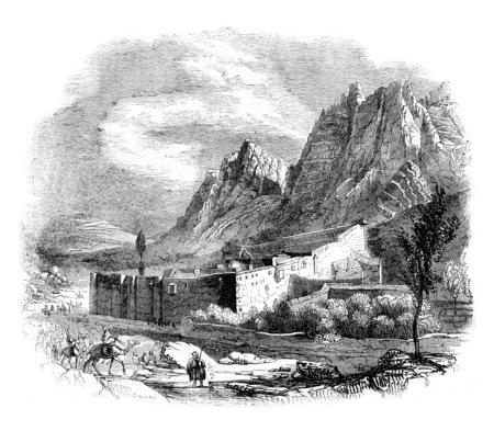 monte sinai: View of the Monastery of Saint Catherine on Mount Sinai, vintage engraved illustration. Magasin Pittoresque 1844.