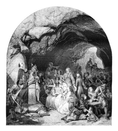 protestant: An assembly of Protestant surprise by Catholic troops, vintage engraved illustration. Magasin Pittoresque 1842.