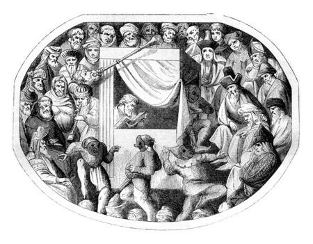 14 世紀のミニチュア、演劇表現に含まれる、ヴィンテージの刻まれた図。マガシンドス Pittoresque 1842。 写真素材