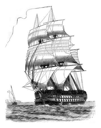 戦列艦が第三の権力の低下、ポート側のダビット、ビンテージの刻まれた図が見られる。マガシンドス Pittoresque 1842。 写真素材