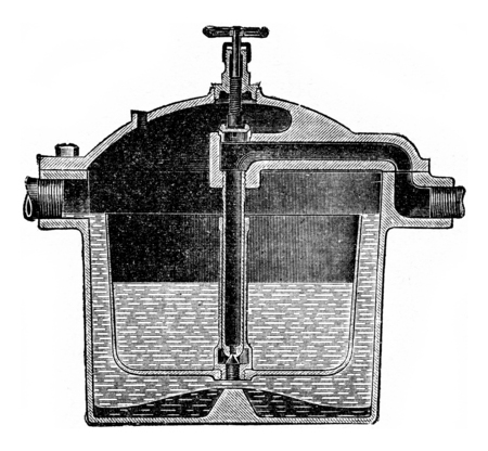 drain: Automatic drain cup, vintage engraved illustration. Stock Photo