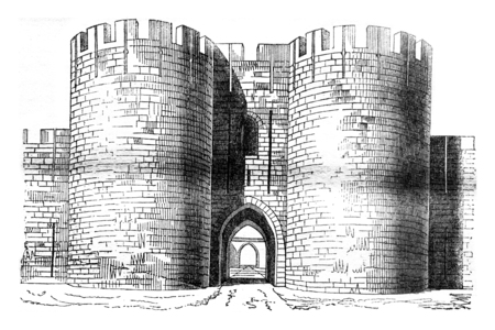 magasin pittoresque: Gate of the city of Aigues-Mortes, vintage engraved illustration. Magasin Pittoresque 1841.