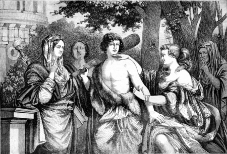 virtue: Louvre Museum, Hercules between Vice and Virtue, vintage engraved illustration. Magasin Pittoresque 1844.