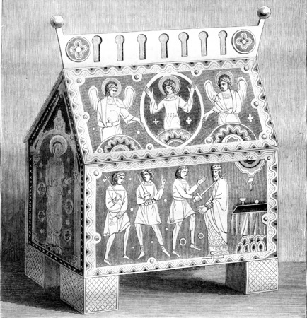 Byzantine style, Drawing a hunting enamelled, of after the original monument, vintage engraved illustration. Magasin Pittoresque 1842. Фото со стока