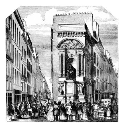 fontaine: Fontaine Moliere at Richelieu, Paris, vintage engraved illustration. Magasin Pittoresque 1844.