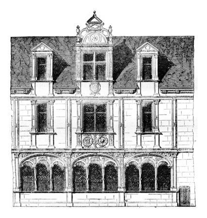 magasin pittoresque: Fragment of a house on Rue Saint-Paul, Paris, demolished in 1835, vintage engraved illustration. Magasin Pittoresque 1842.
