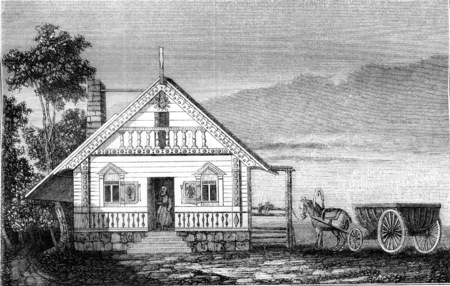 history architecture: A house in the Russian America, vintage engraved illustration. Magasin Pittoresque 1845. Stock Photo