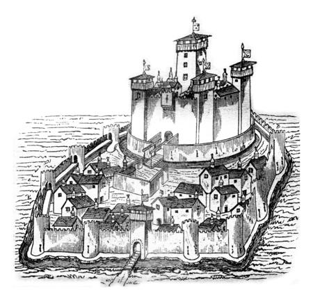 Chateau de la Pauleuze in Bourbonnais, after a manuscript of the fifteenth century, vintage engraved illustration. Magasin Pittoresque 1841. Stock Photo