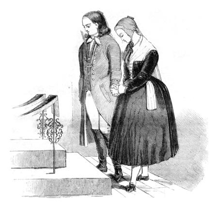 Betrothed, vintage engraved illustration. Magasin Pittoresque 1845.