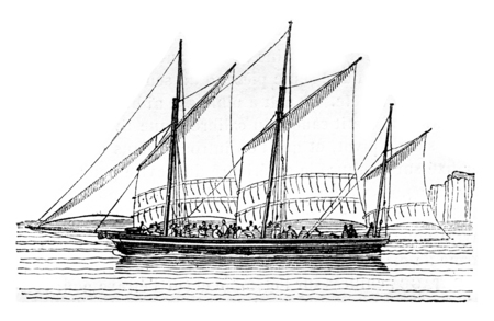 Barge at closer than abeam, vintage engraved illustration. Magasin Pittoresque 1842.