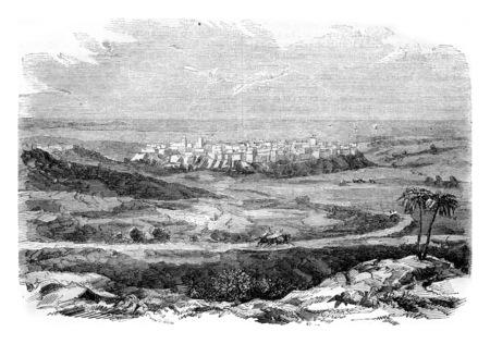 Mostaganem province of Oran, vintage engraved illustration. Magasin Pittoresque 1844.