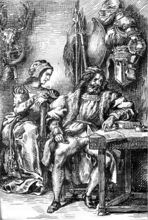 magasin pittoresque: Act IV: Goetz writing his memoirs, his wife Elisabeth, vintage engraved illustration. Magasin Pittoresque 1845.