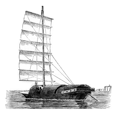 Youyou current broad reach, seen by hip portside, vintage engraved illustration. Magasin Pittoresque 1842.