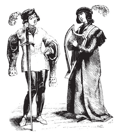A Troubadour and Page, vintage engraved illustration. Magasin Pittoresque 1844.