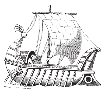 Ship franc, after a manuscript of the Royal Library, vintage engraved illustration. Magasin Pittoresque 1844. 일러스트