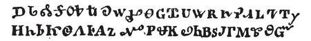 Cherokee writing, vintage engraved illustration. Magasin Pittoresque 1858. Stockfoto - 111558188