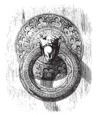 Ring of iron cisele has one of the internal doors of the cathedral of Bourges, Fourth century, vintage engraved illustration. Magasin Pittoresque 1855.