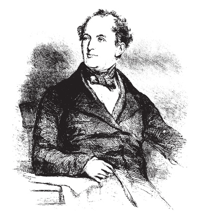 Thomas Moore, vintage engraved illustration. Magasin Pittoresque 1855.