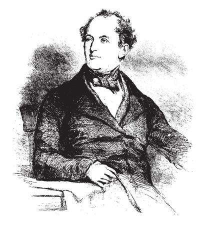 Thomas Moore, vintage engraved illustration. Magasin Pittoresque 1855. Foto de archivo - 111558194
