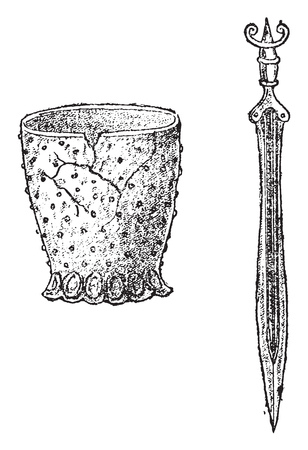 Terracotta vase, Epee in bronze, Of the lake dwellings of Switzerland, vintage engraved illustration. From Natural Creation and Living Beings.  イラスト・ベクター素材