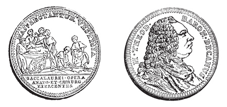 Token Baron, vintage engraved illustration. Magasin Pittoresque 1858.  イラスト・ベクター素材