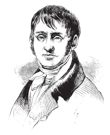 Redoute, after a portrait of fact in his youth, vintage engraved illustration. Magasin Pittoresque 1841. Vektoros illusztráció