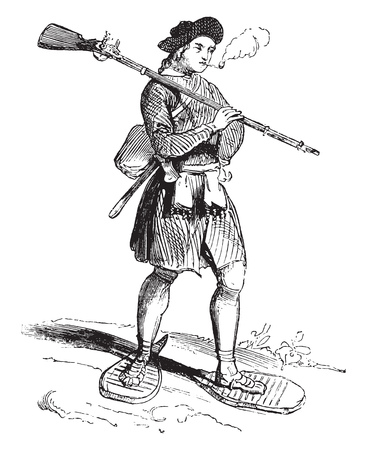 A colonist of Hudsons Bay in the seventeenth century, vintage engraved illustration. Magasin Pittoresque 1844.