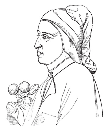 Portrait of Dante Alighieri, painted in Florence, at the end of the thirteenth century by the Giotto, vintage engraved illustration. Magasin Pittoresque 1841. Foto de archivo - 111558238