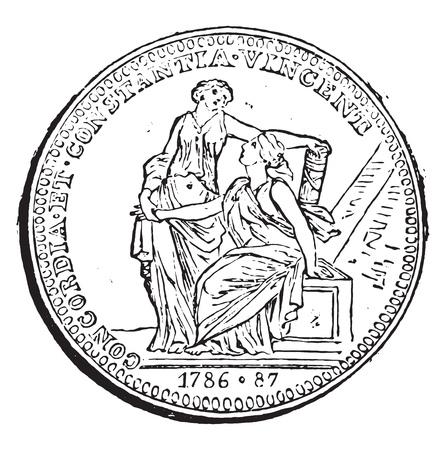 Reversal of a token Gruff, vintage engraved illustration. Magasin Pittoresque 1858. Illustration