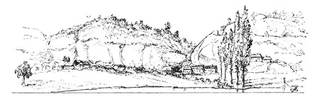 Present state of rock shelters on the banks of the Vezere, human stations of the Reindeer era, vintage engraved illustration. From Natural Creation and Living Beings.