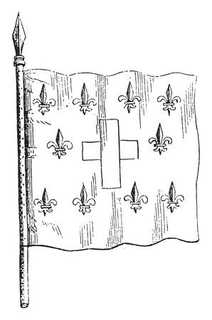 Royal Banner of France, vintage engraved illustration. Magasin Pittoresque 1844.