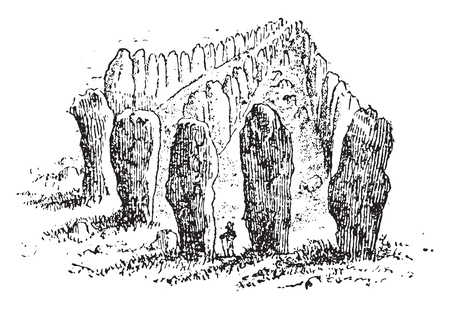 Menhirs lined up by Carnac, vintage engraved illustration. From Natural Creation and Living Beings.  Illustration
