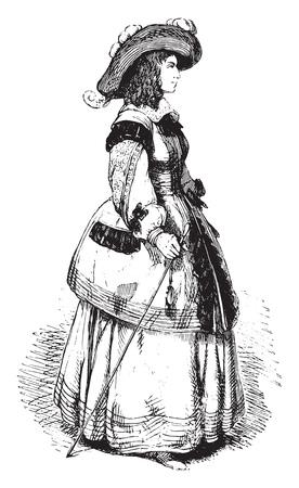 Marie de Bourbon, Duchess of Montpensier, vintage engraved illustration. Magasin Pittoresque 1844. 向量圖像