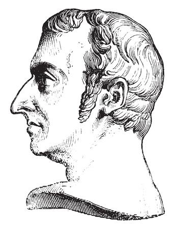 Nepomucene Lemercier, vintage engraved illustration. Magasin Pittoresque 1841. Çizim