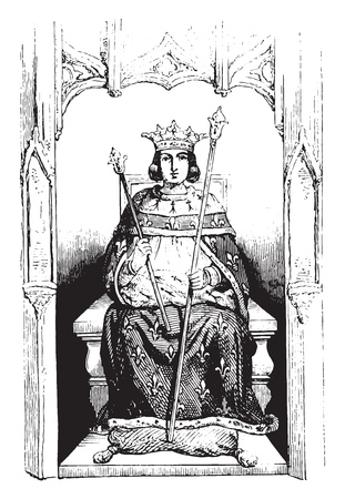Saint Louis in royal costume, Tire from a stained glass window in the church of Saint Louis de Poissy, vintage engraved illustration. Magasin Pittoresque 1844.