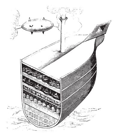 View of the infernal machine directed against Dunkirk, vintage engraved illustration. Magasin Pittoresque 1844.
