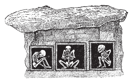 Attitude of the skeletons in the burial vaults of a tumulus of Denmark, vintage engraved illustration. From Natural Creation and Living Beings.