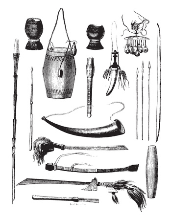 Weapons of the island of Timor, Sunda archipelago, vintage engraved illustration. Magasin Pittoresque 1858. Illustration