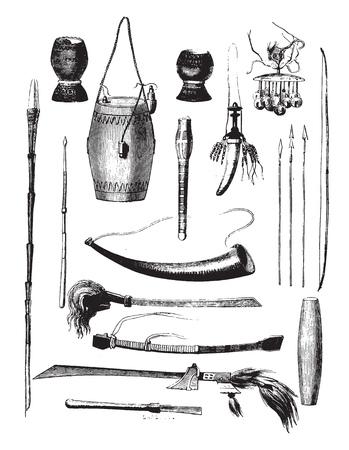 Weapons of the island of Timor, Sunda archipelago, vintage engraved illustration. Magasin Pittoresque 1858.  イラスト・ベクター素材