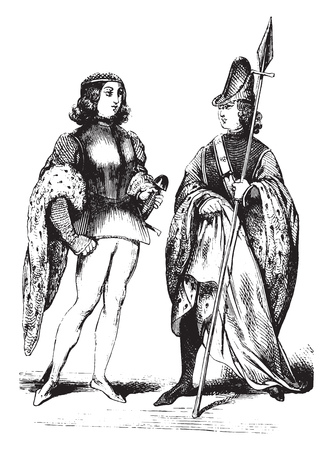 Pons and Sauret, Counts of Toulouse, vintage engraved illustration. Magasin Pittoresque 1844.