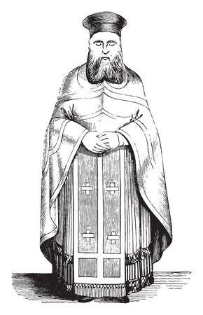 Priest, Ecclesiastical costume Greece, vintage engraved illustration. Magasin Pittoresque 1844.