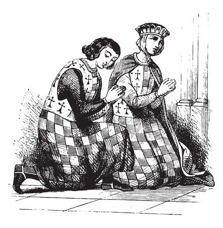 Alix and Arthur of Brittany, Costumes of man and woman has chess board, vintage engraved illustration. Magasin Pittoresque 1844.