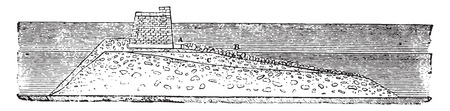 Execution profile for the completion of the dyke of Cherbourg, vintage engraved illustration. Magasin Pittoresque 1841.